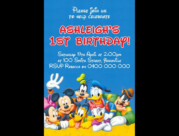 Mickey Mouse Personalised Birthday Invitations