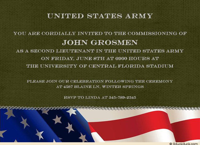 Military Personal Wording For Invitations