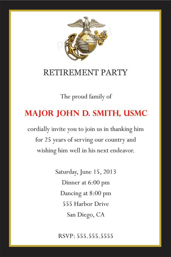 Army Retirement Invitations
