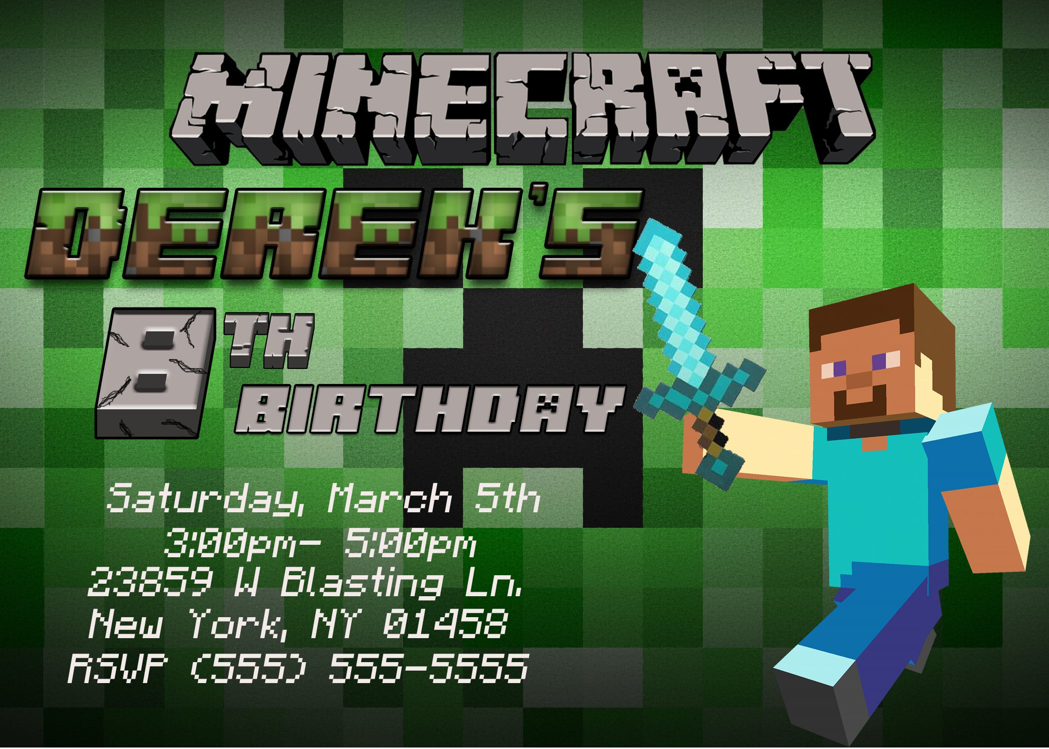 Minecraft Birthday Party Invitations