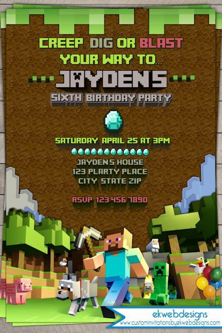 Minecraft Editable Birthday Invitations