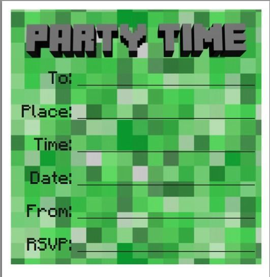 Minecraft Party Invitation Printable Templates