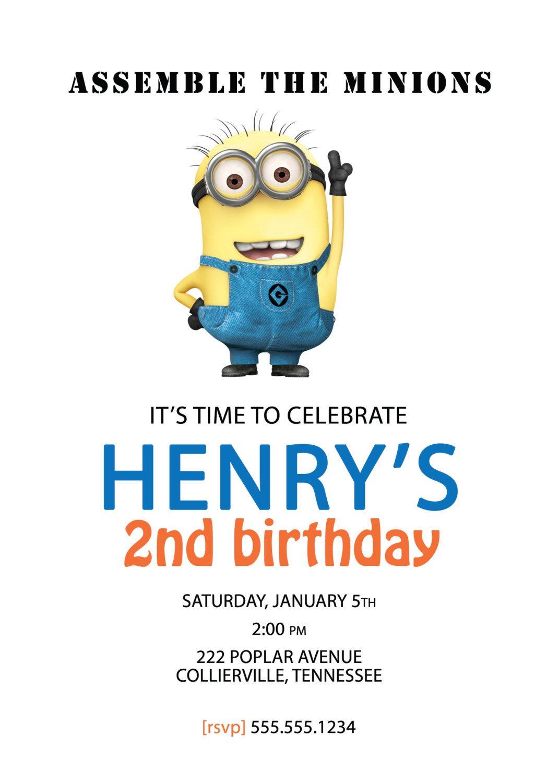 Minion Birthday Invitations Free