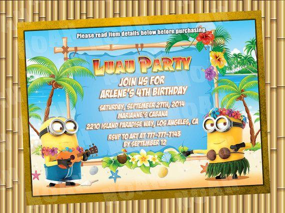 Minion Printable Luau Invitations