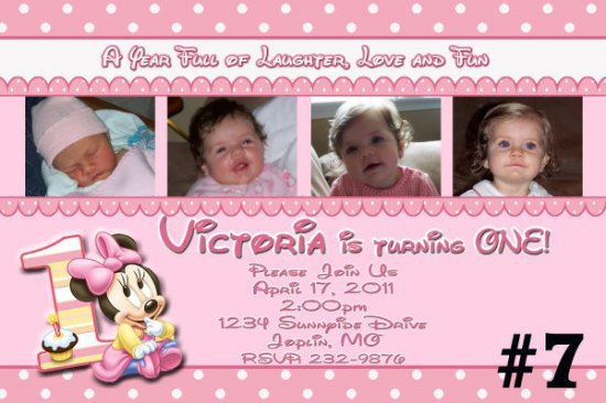Minnie 1st Birthday Custom Invitation