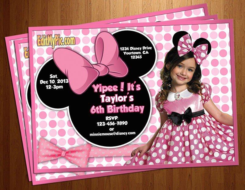 Minnie Mouse 1st Birthday Custom Invitations