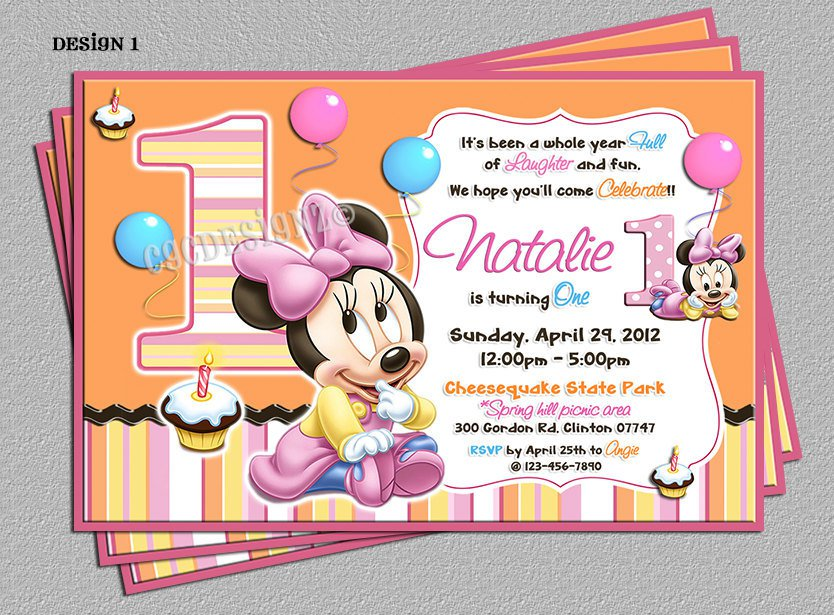 Minnie Mouse 1st Birthday Print Invitations