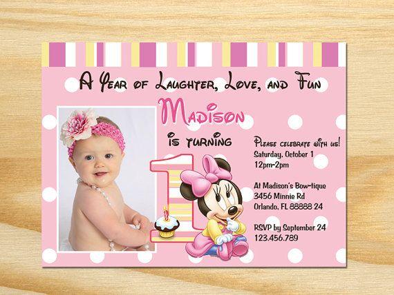 Minnie Mouse 1st Birthday Printable Invitations