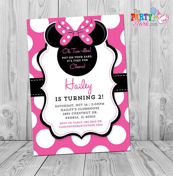 Minnie Mouse Party Invitation Wording – Minnie Mouse 2nd Birthday Invitation Wording