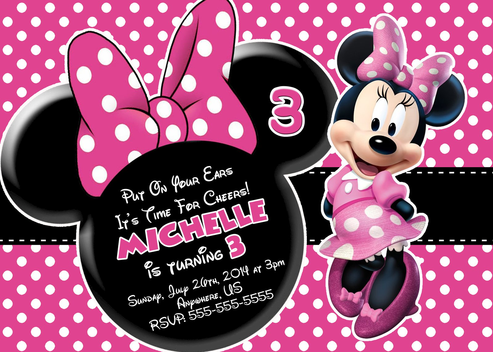 Minnie Mouse Birthday Card Invitations