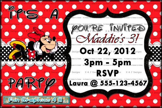 Minnie Mouse Birthday Party Invitations Etsy