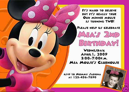 Minnie Mouse Ecard Birthday Invitations