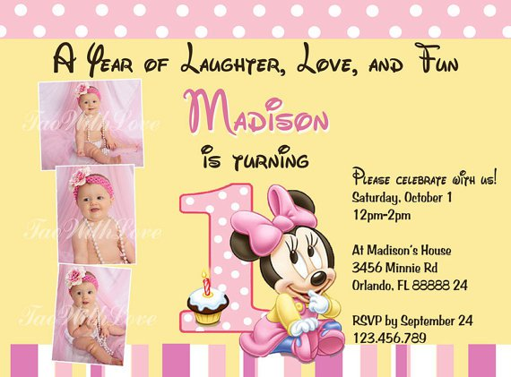 Minnie Mouse First Birthday Invitations Free