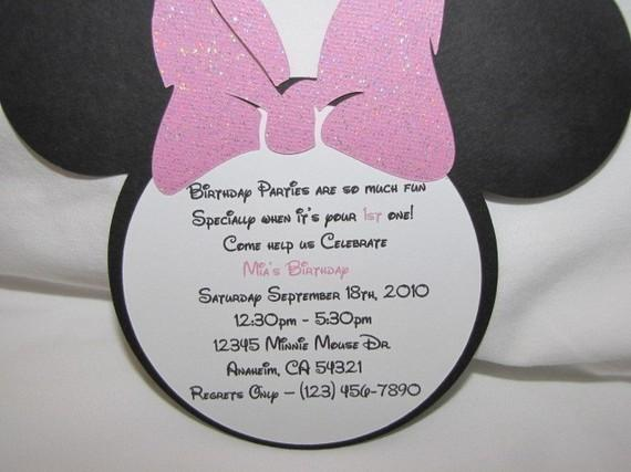 Mouse Invitation Wording - Minnie mouse birthday invitation message