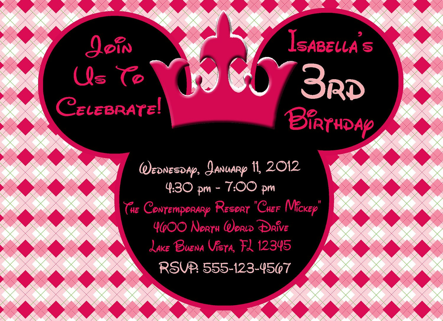 Minnie Mouse Invitation Wording Ideas
