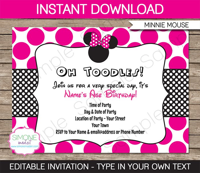 Minnie Mouse Party Invitations To Print