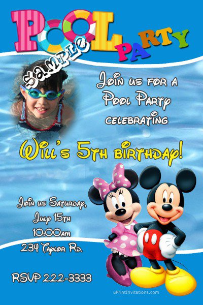 Minnie Mouse Pool Party Invitation Wording