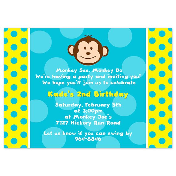 Mod Monkey Birthday Invitation Template