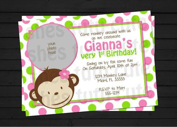 Mod Monkey Invitation Template