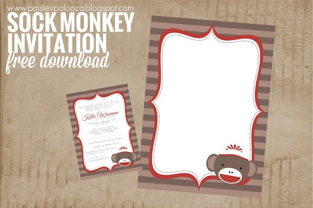 Mod Monkey Invitation Templates