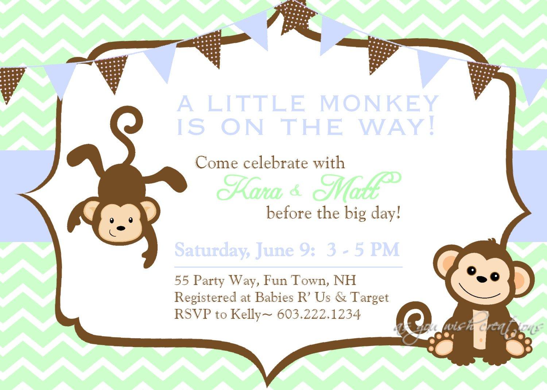 Monkey Baby Shower Invitations Free