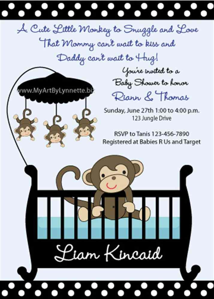 Monkey Baby Shower Invitations Printable