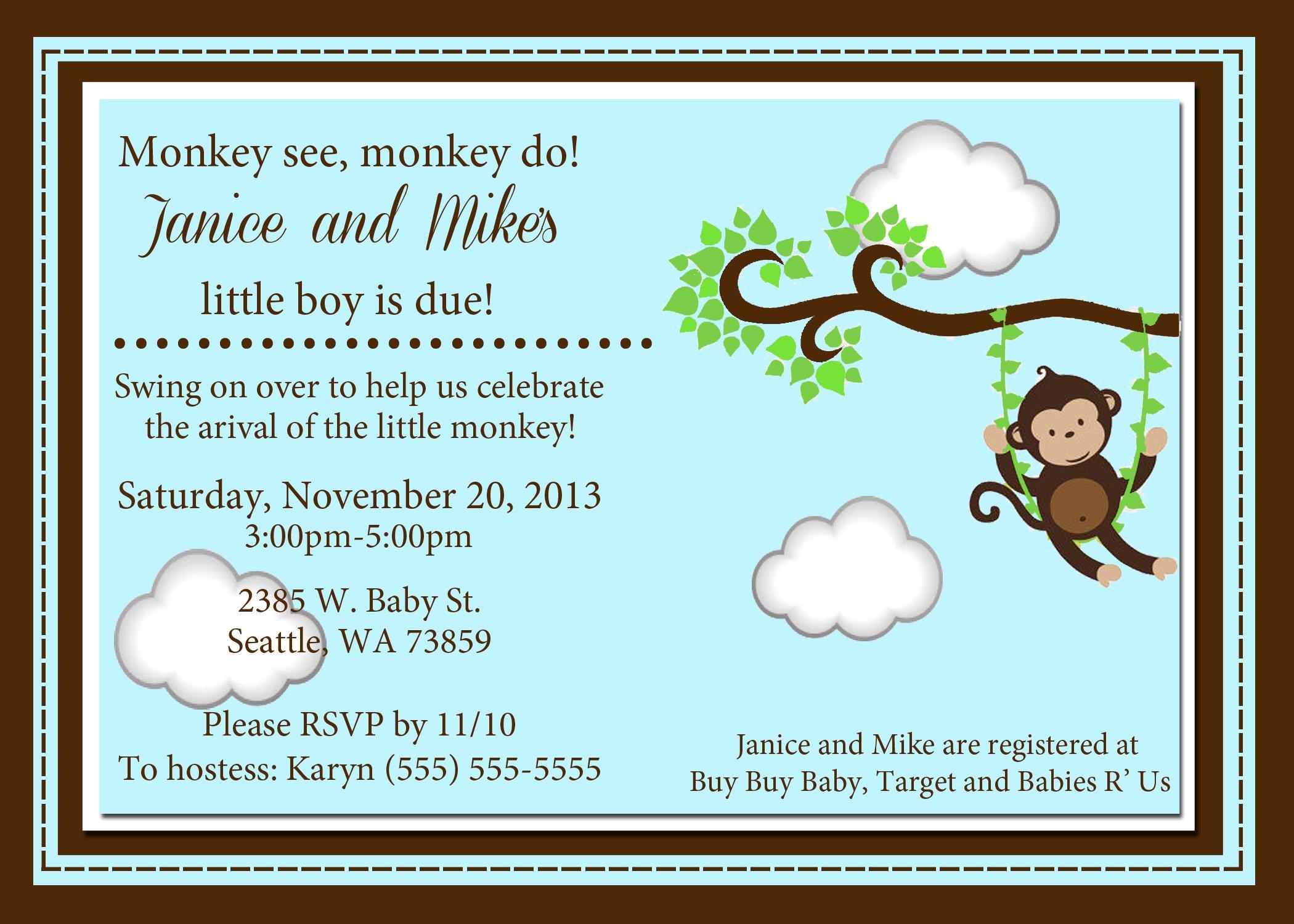 Monkey Baby Shower Invitations Templates Free