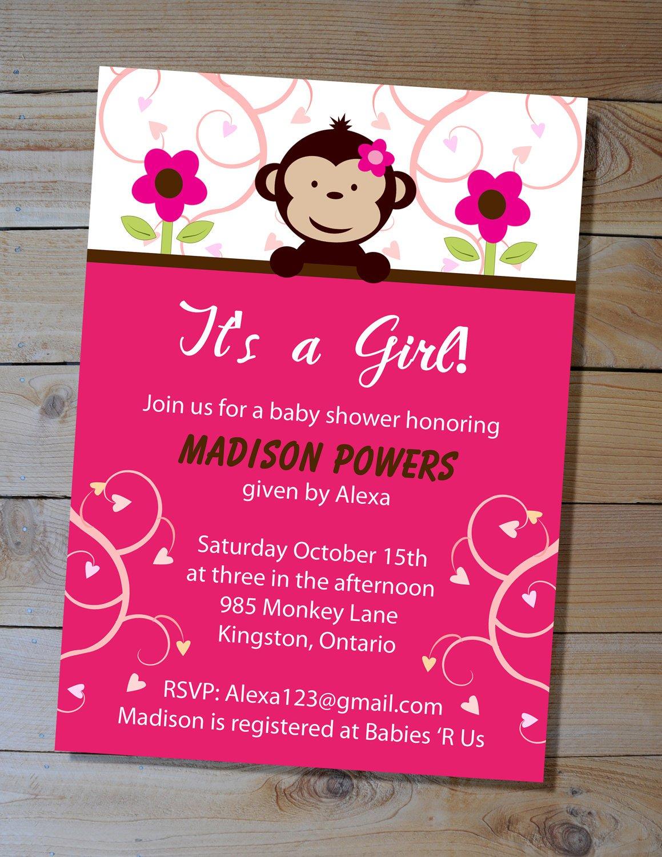 Monkey Themed Baby Shower Invitations Printable