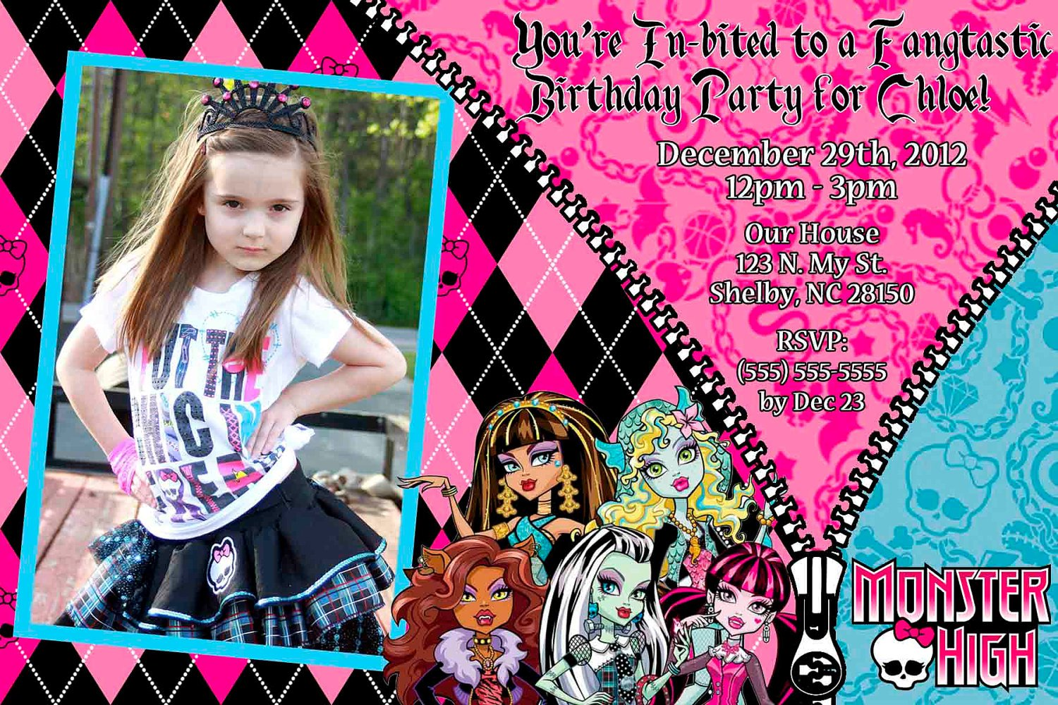 Monster High Make Your Own Invitations