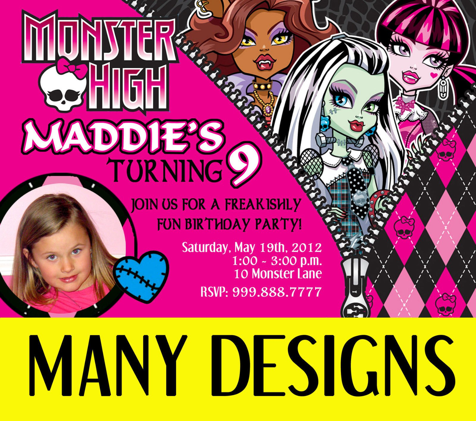 Monster High Personalized Party Invitations