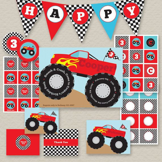 Monster Truck Invitation Blank