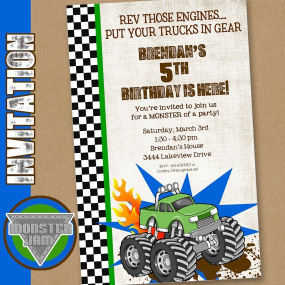 Monster Truck Invitation Ideas