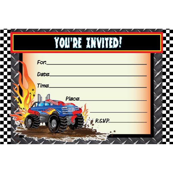 Monster Truck Invitations Printable Free