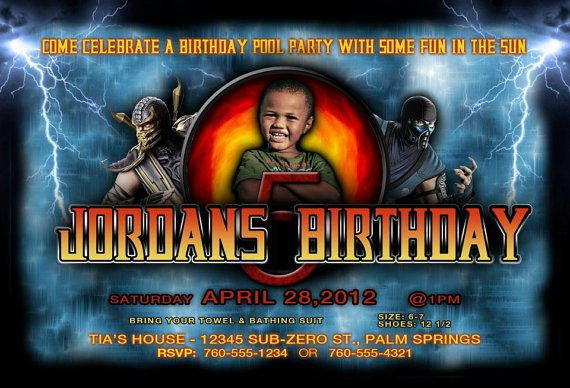 Mortal Kombat Birthday Invitations