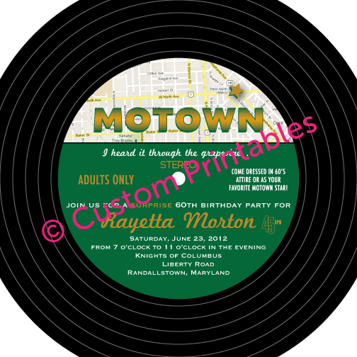 Motown Birthday Invitation Templates