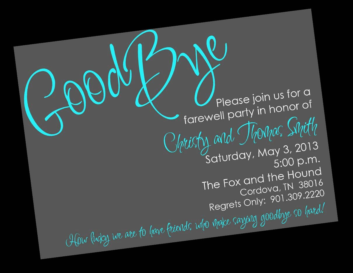 Moving Away Party Invitations Wording