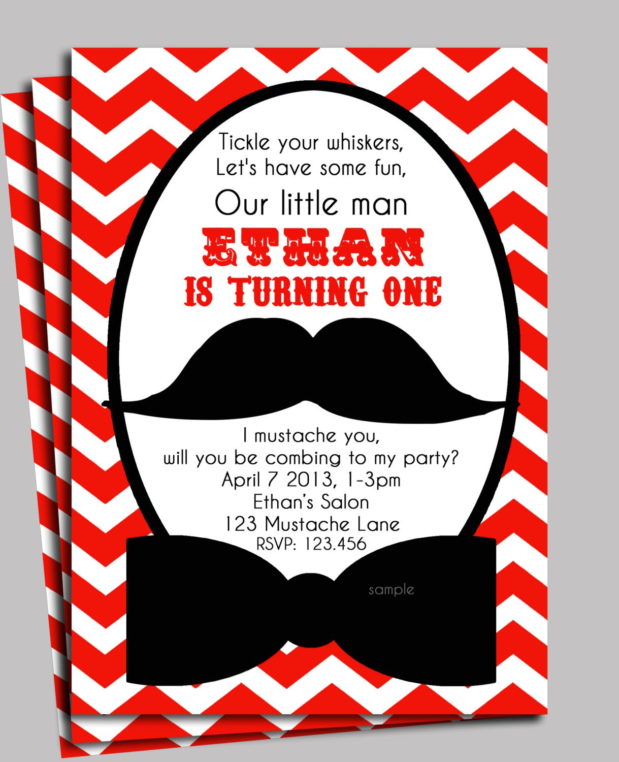 Mustache Birthday Invitation Printable