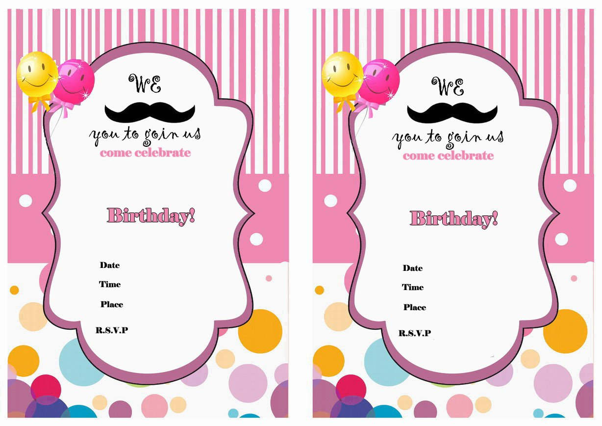 Mustache Birthday Invitations Printable