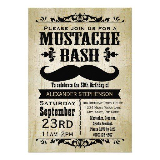 Mustache Party Invitations Template
