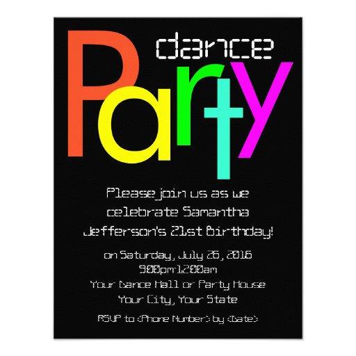 Neon Dance Party Invitation