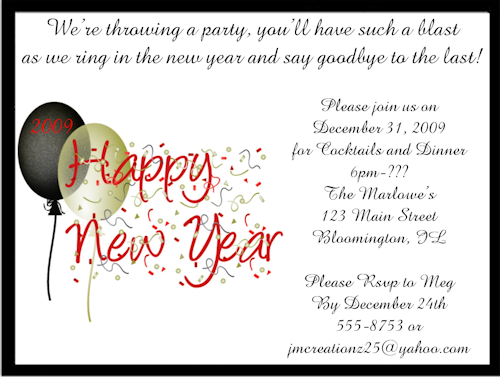 New Year Invitation Text
