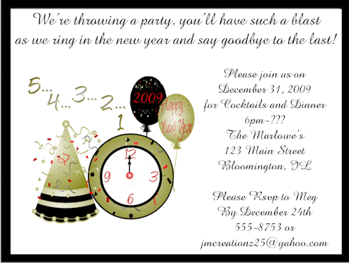 New Years Eve Invitation Wording