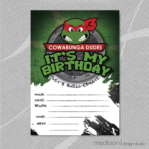 Ninja Turtle Blank Invitations