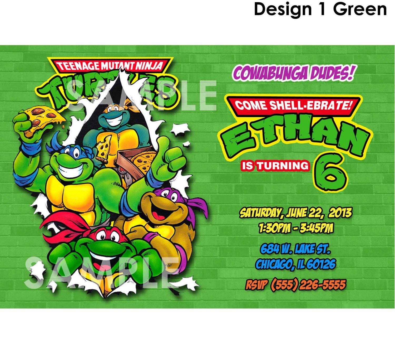 Ninja Turtle Invitation Printable Templates