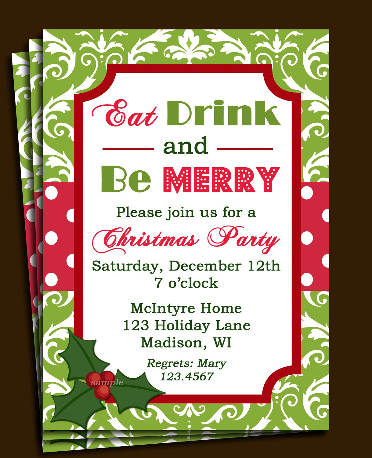 Office Christmas Luncheon Invitations