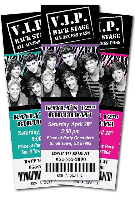 One Direction Birthday Invitations Print