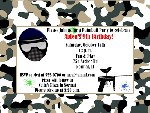 Paintball Invitations Print Your Own