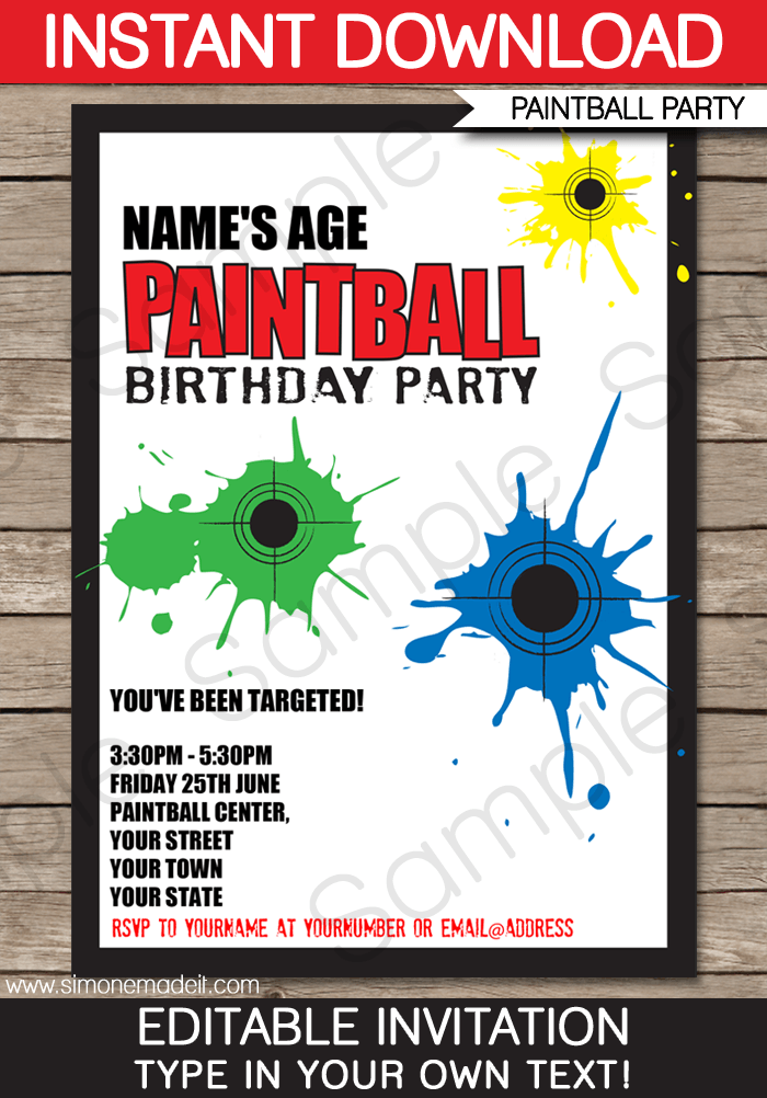 Paintball Party Invitation Templates
