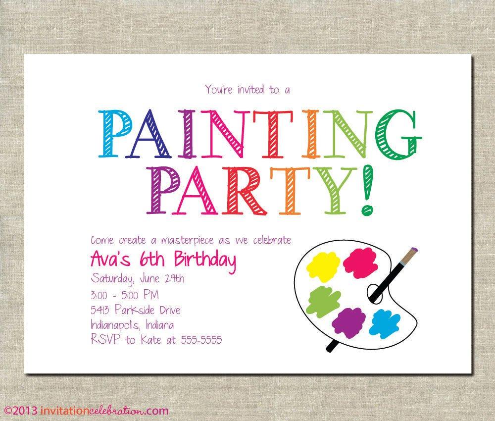 Painting Party Birthday Invitations Printable