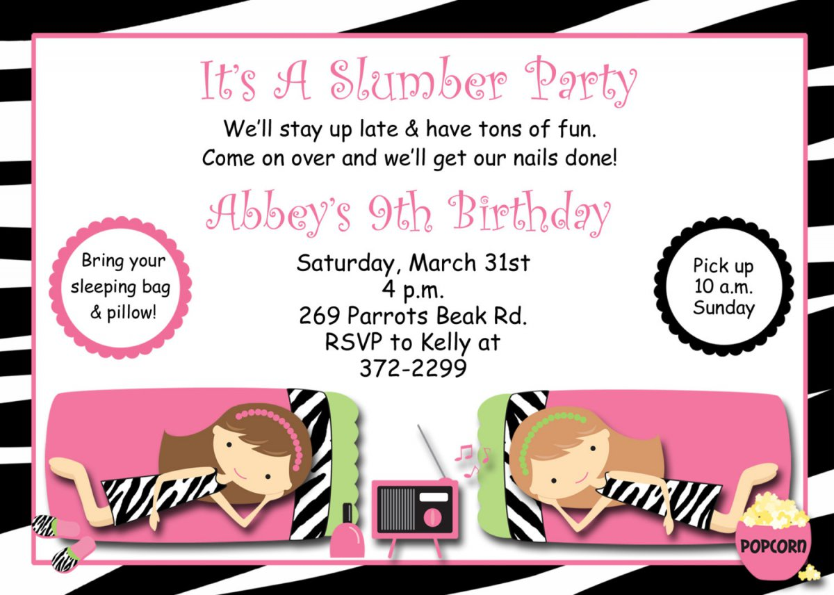 Pajama Birthday Party Invitations Free
